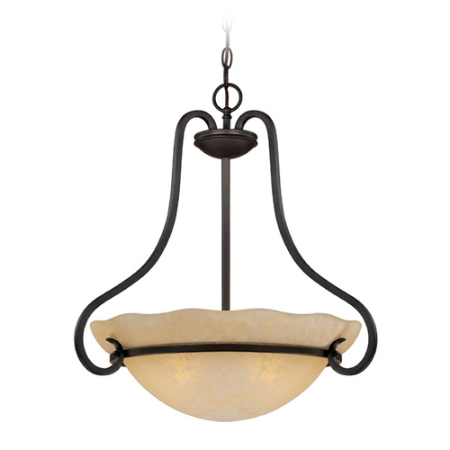 Designers Fountain Lighting Pendant Light with Amber Glass in Natural Iron Finish 84731-NI