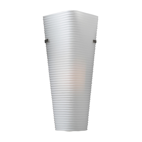 PLC Lighting Modern Sconce Wall Light with White Glass in Satin Nickel Finish 6565 SN