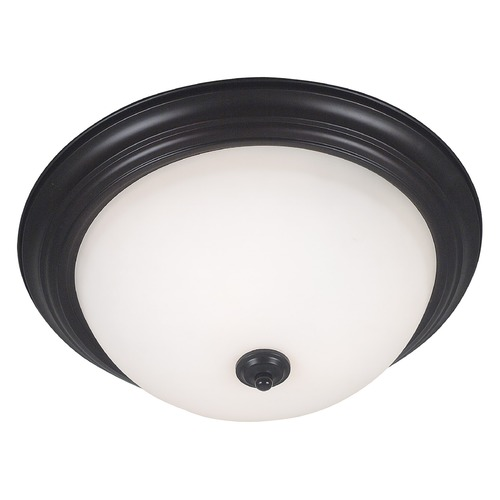 Kenroy Home Lighting Modern Flushmount Light with White Glass in Oil Rubbed Bronze Finish 80369ORB