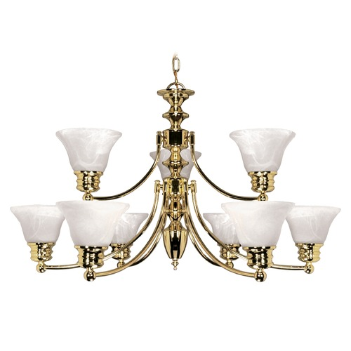 Nuvo Lighting Chandelier with Alabaster Glass in Polished Brass Finish 60/361