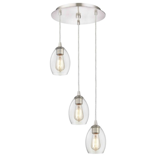 Design Classics Lighting Satin Nickel Multi-Light Pendant with Clear Oblong Glass and 3-Lights 583-09 GL1034-CLR