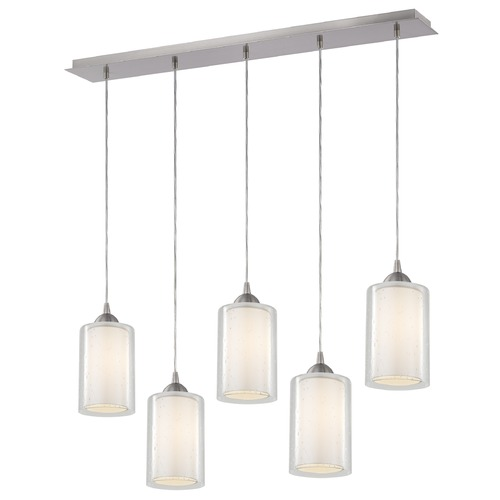 Design Classics Lighting 36-Inch Linear Pendant with 5-Lights in Satin Nickel Finish with Clear Seeded / Frosted White Glass 5835-09 GL1061 GL1041C