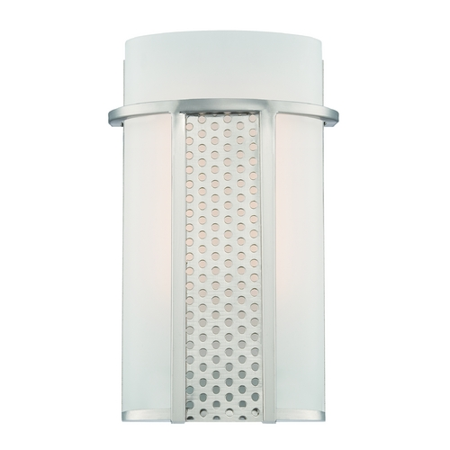 Designers Fountain Lighting Modern LED Sconce Wall Light with White Glass in Satin Platinum Finish LED6050-SP