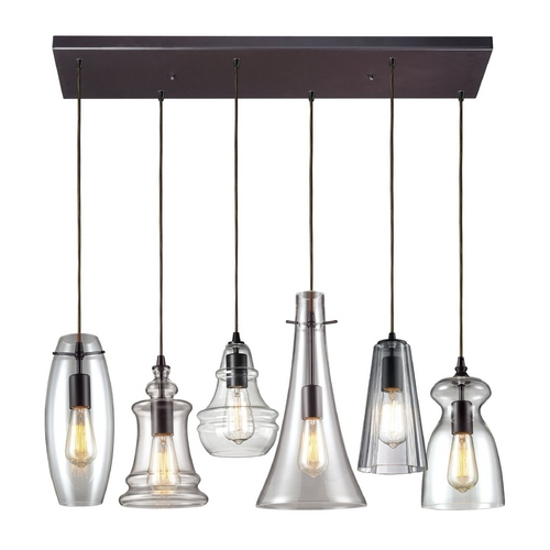 Elk Lighting Multi-Light Pendant Light with Clear Glass and 6-Lights 60049-6M-RC