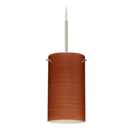 Besa Lighting Besa Lighting Stilo Satin Nickel LED Mini-Pendant Light with Cylindrical Shade 1BT-4404CH-LED-SN