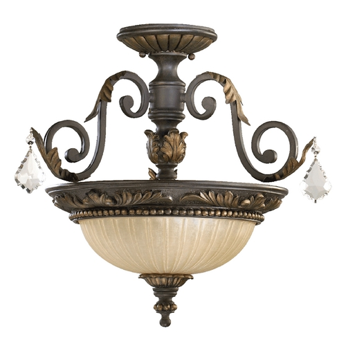 Quorum Lighting Quorum Lighting Rio Salado Toasted Sienna with Mystic Silver Semi-Flushmount Light 2957-17-44