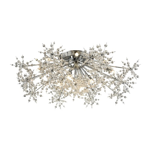 Elk Lighting Mid-Century Modern Crystal Semi-Flushmount Cluster Light Chrome Snowburst by Elk Lighting 11892/13