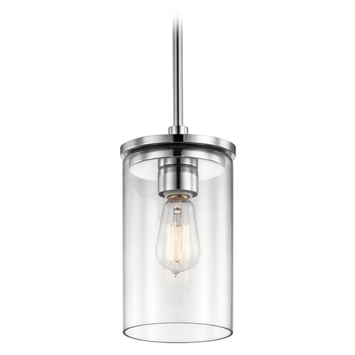 Kichler Lighting Kichler Lighting Crosby Chrome Mini-Pendant Light with Cylindrical Shade 43996CH