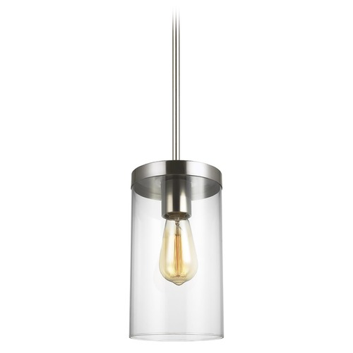 Sea Gull Lighting Sea Gull Lighting Zire Brushed Nickel Pendant Light with Cylindrical Shade 6590301-962