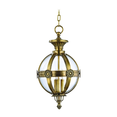 Hudson Valley Lighting Pendant Light with Clear Glass in Aged Brass Finish 2313-AGB