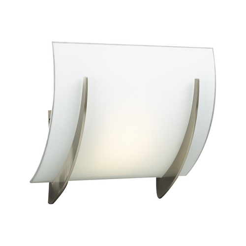 PLC Lighting Modern Sconce Wall Light with White Glass in Satin Nickel Finish 6559 SN