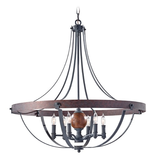 Feiss Lighting Feiss Lighting Alston Charcoal / Brick / Acorn Chandelier F2796/6AF/CBA