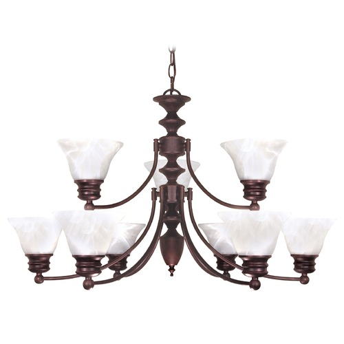 Nuvo Lighting Chandelier with Alabaster Glass in Old Bronze Finish 60/362