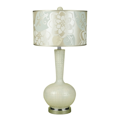 AF Lighting Table Lamp with White Shade in Cream Glass Finish 7909-TL