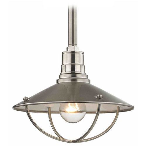 Design Classics Lighting Apex RLM 10-Inch Satin Nickel Pendant Light with Cage 660-09