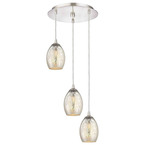 Design Classics Lighting Satin Nickel Multi-Light Pendant with Mercury Oblong Glass and 3-Lights 583-09 GL1034-MER