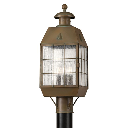 Hinkley Lighting Post Light with Clear Glass in Aged Brass Finish 2371AS