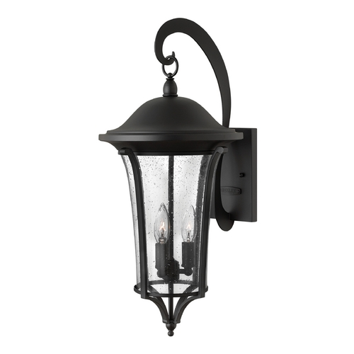 Hinkley Lighting Seeded Glass Outdoor Wall Light Black Hinkley Lighting 1385BK