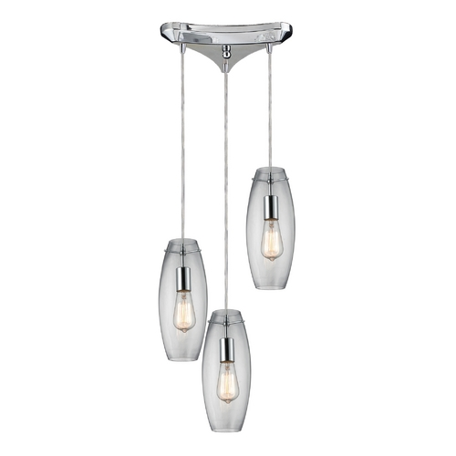 Elk Lighting Multi-Light Pendant Light with Clear Glass and 3-Lights 60054-3