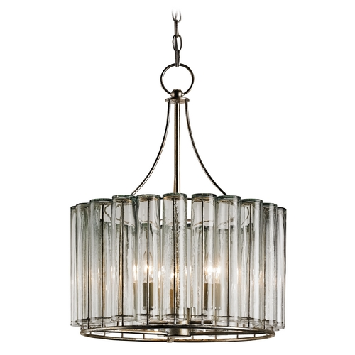 Currey and Company Lighting Currey and Company Lighting Silver Leaf Pendant Light with Drum Shade 9293