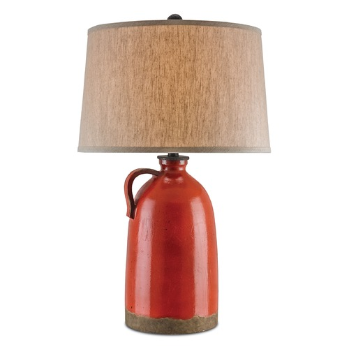 Currey and Company Lighting Currey and Company Burnham Baltik Red/mol� Black Table Lamp with Drum Shade 6849