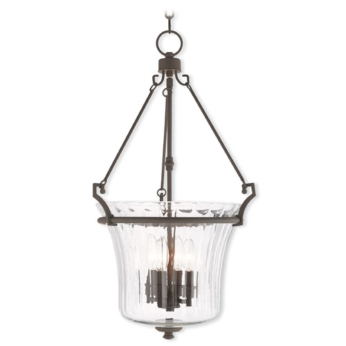 Livex Lighting Livex Lighting Cortland Bronze Pendant Light with Fluted Shade 50926-07
