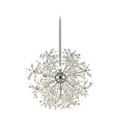 Elk Lighting Mid-Century Modern Crystal Pendant Cluster Light Chrome Snowburst by Elk Lighting 11893/7
