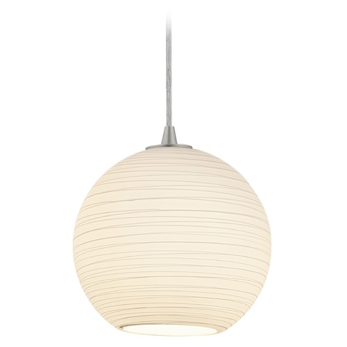 Access Lighting Access Lighting Japanese Lantern Brushed Steel Mini-Pendant Light with Bowl / Dome Shade 28087-4C-BS/WHTLN