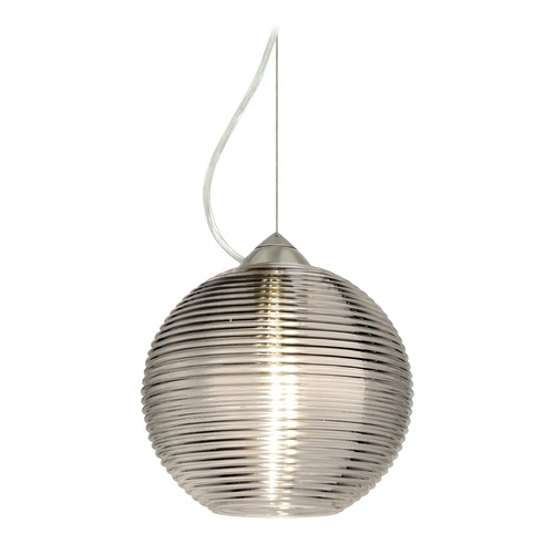 Besa Lighting Besa Lighting Kristall Satin Nickel LED Pendant Light with Globe Shade 1KX-461602-LED-SN