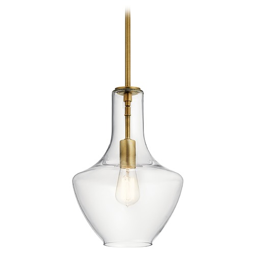 Kichler Lighting Everly Medium Natural Brass 1-Light Pendant with Clear Glass 42141NBR