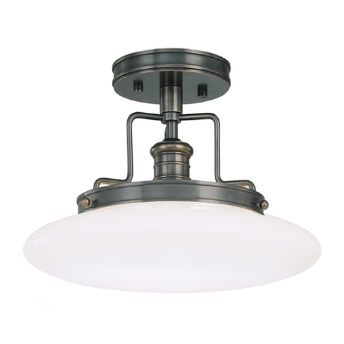 Hudson Valley Lighting Modern Semi-Flushmount Light with White Glass in Old Bronze Finish 4202-OB