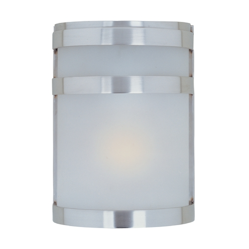 Maxim Lighting Modern Outdoor Wall Light with White Glass in Stainless Steel Finish 5000FTSST
