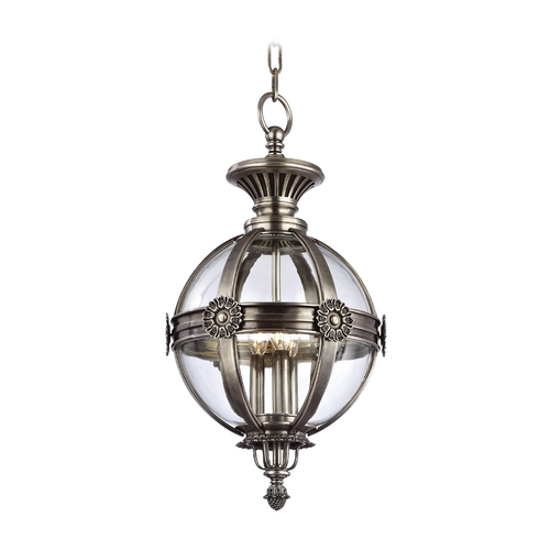 Hudson Valley Lighting Pendant Light with Clear Glass in Aged Silver Finish 2313-AS