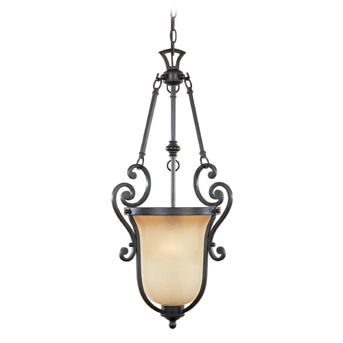 Designers Fountain Lighting Pendant Light with Beige / Cream Glass in Natural Iron Finish 96151-NI