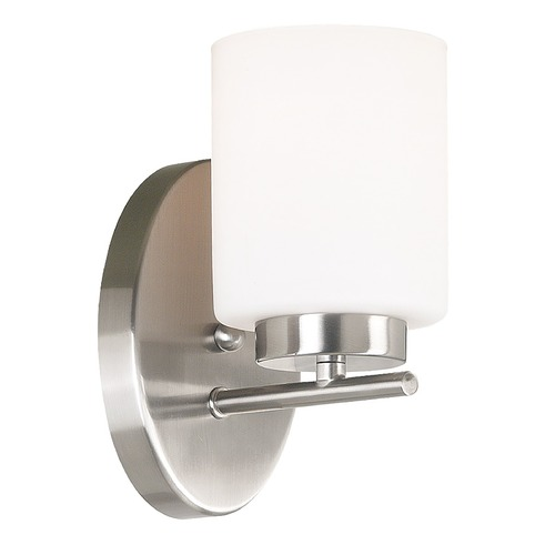 Kenroy Home Lighting Modern Sconce Wall Light with White Glass in Brushed Steel Finish 80401BS