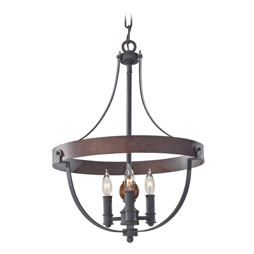 Feiss Lighting Pendant Light in Charcoal / Brick / Acorn Finish F2797/3AF/CBA