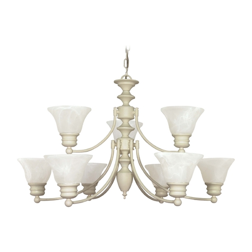 Nuvo Lighting Chandelier with Alabaster Glass in Textured White Finish 60/363