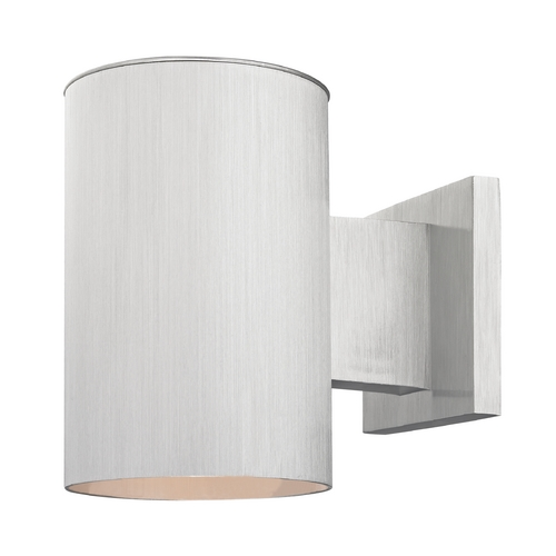 Design Classics Lighting Cylinder Outdoor Wall Down Light in Brushed Aluminum Finish 5051 BA