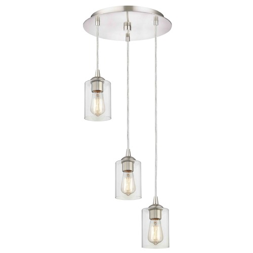 Design Classics Lighting Satin Nickel Multi-Light Pendant with Clear Cylinder Glass and 3-Lights 583-09 GL1040C