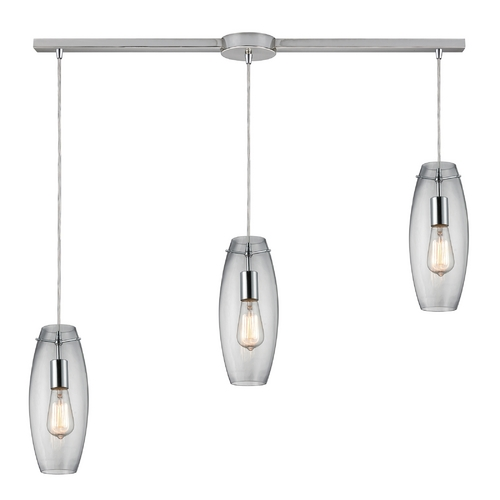 Elk Lighting Multi-Light Pendant Light with Clear Glass and 3-Lights 60054-3L