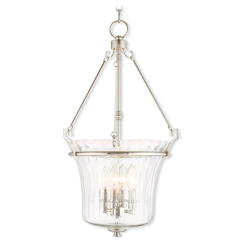 Livex Lighting Livex Lighting Cortland Polished Nickel Pendant Light with Fluted Shade 50926-35