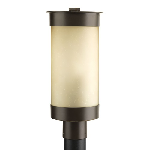 Progress Lighting Etched Umber Seeded Glass Post Light Bronze Progress Lighting P5413-20