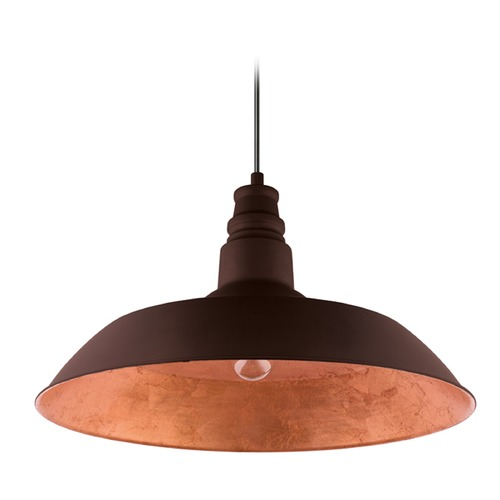 Eglo Lighting Farmhouse Barn Light Chocolate Brown w/ Gold Interior Somerton 2 by Eglo Lighting 201605A