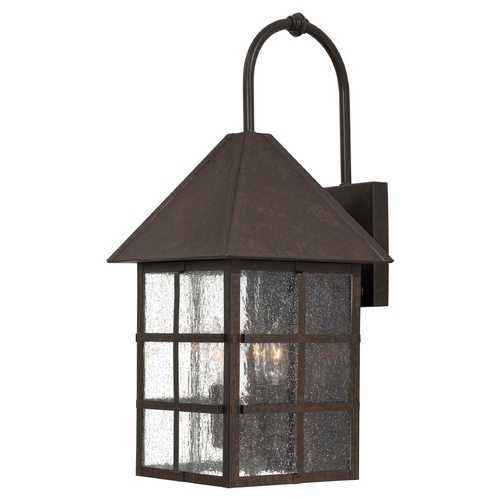Minka Lavery Outdoor Wall Light with Clear Glass in Rust Finish 8582-51