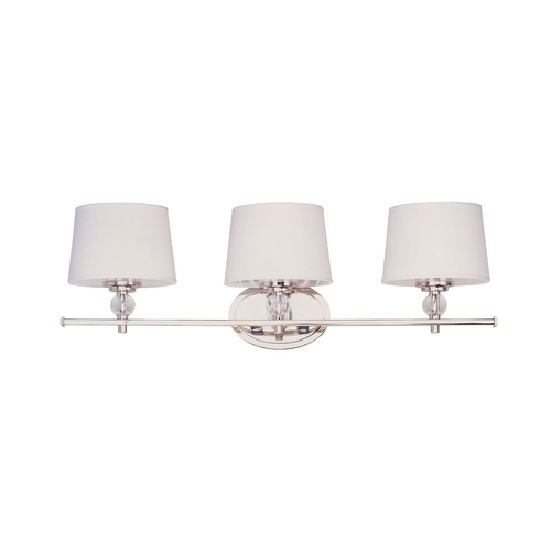 Maxim Lighting Bathroom Light with White Shades in Polished Nickel Finish 12763WTPN