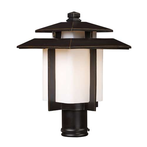 Elk Lighting Post Light with White Glass in Hazlenut Bronze Finish 42173/1