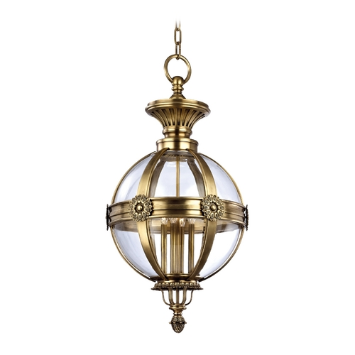 Hudson Valley Lighting Pendant Light with Clear Glass in Aged Brass Finish 2320-AGB
