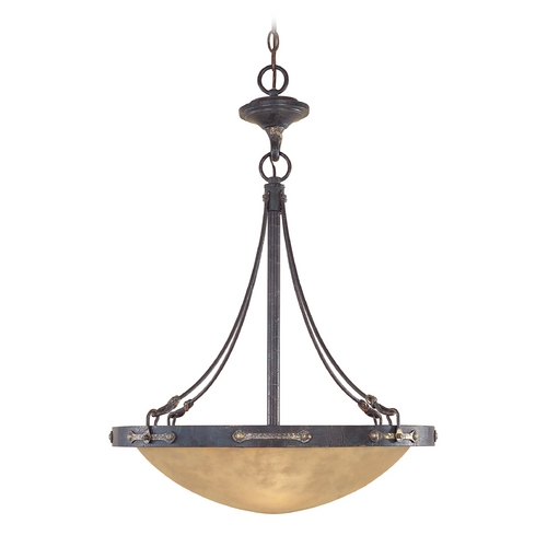 Designers Fountain Lighting Pendant Light with Beige / Cream Glass in Weathered Saddle Finish 97331-WSD