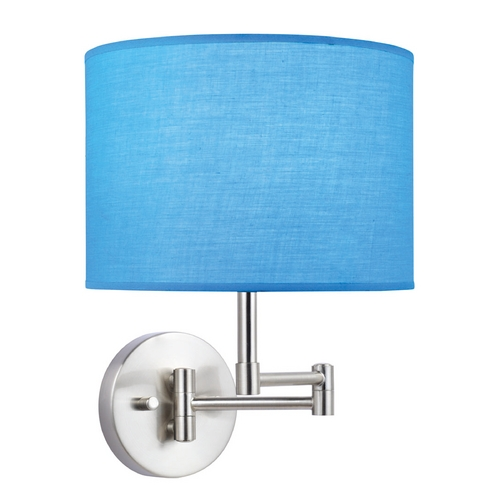 Lite Source Lighting Swing Arm Lamp with Blue Drum Shade in Polished Steel Finish LS-16515TURQ