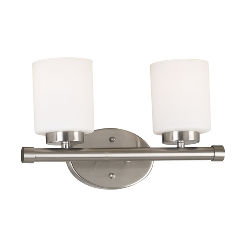 Kenroy Home Lighting Modern Bathroom Light with White Glass in Brushed Steel Finish 80402BS